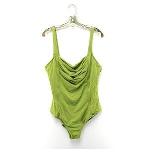 Calvin Klein Green Maillot Ruching Swimsuit